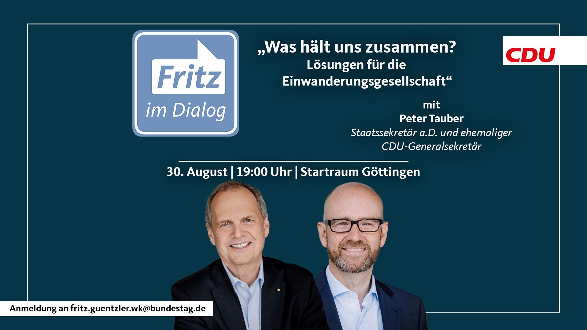 Read more about the article Fritz im Dialog mit Dr. Peter Tauber: Was hält uns zusammen – Deutschland als Einwanderungsland
